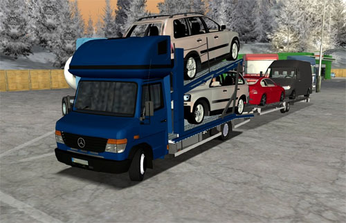 Mercedes Vario And Automobile Trasnport Trailer Euro Truck Simulator