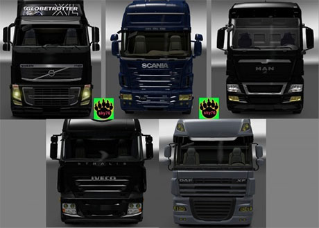 Yellow headlight glass for all truck [ETS 2]