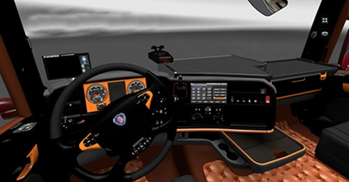 Scania black orange interior ets2 mods ets2 interiors download for Interior design simulator