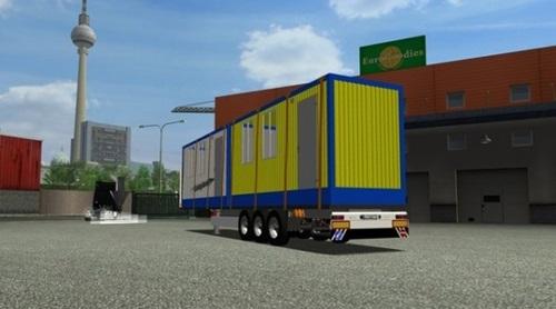 Plattform-Trailer-Mit-Home-Container