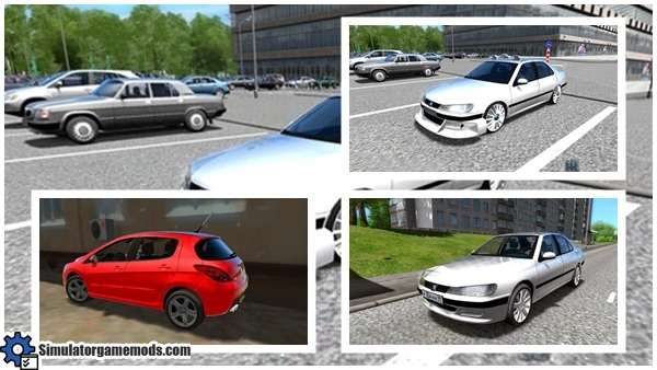 city car driving 1 4 peugeot car package simulator games mods download. Black Bedroom Furniture Sets. Home Design Ideas