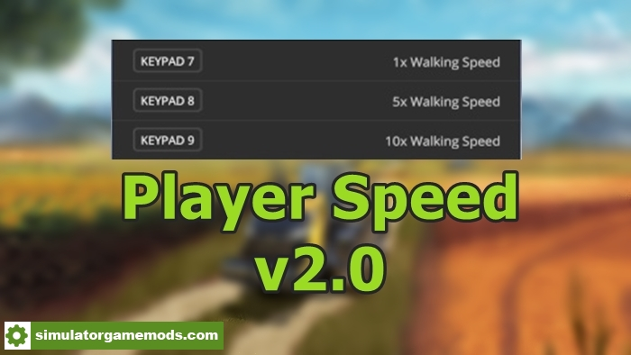 Car Driving Games >> FS17 – Player Speed V 2.0 – Simulator Games Mods Download
