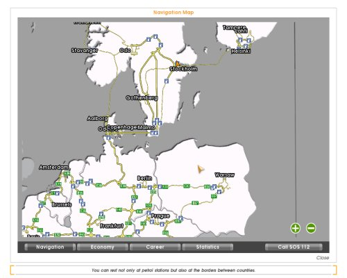 Map of Northern Europe Euro Truck Simulator