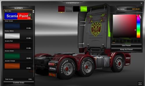 Scania paint skin pack simulator games mods download for Car paint simulator