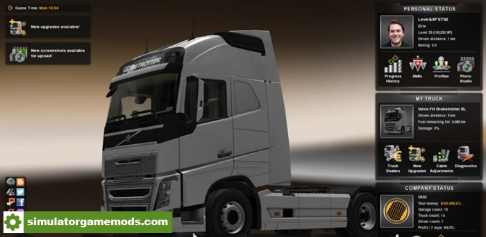 ETS 2 - Save Game (Profile) Have XP (Level) & Money (1 30 X