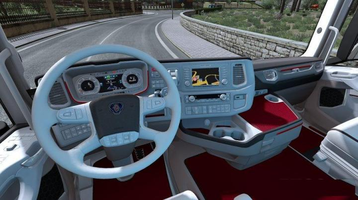 ETS2 - Scania New Generation Interior White Red V1 (1 31 X