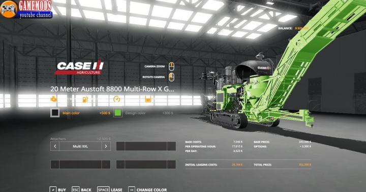 Car Driving Games >> FS19 - Case Austoft 8800 +20M Sugarcane Harvester V1 ...