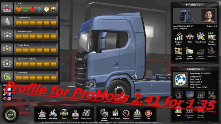 ETS2 - Profile For Promods V2 41 (1 35 x) | Simulator Games